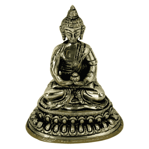 Japanse Boeddha Beeld Witmetaal Amithaba - 10 cm