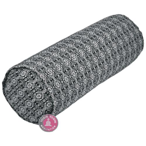 Yogi & Yogini Yoga Bolster Zwart/Wit Rond Katoen - Patroon - 60 x 16 cm