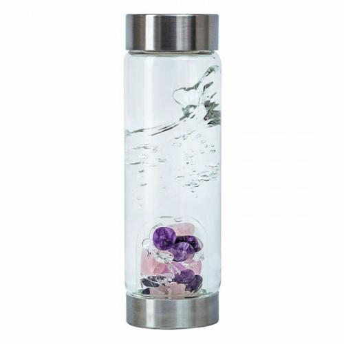 VitaJuwel ViA Edelsteen Waterfles Bergkristal, Rozenkwarts en Amethist - Wellness - 500 ml