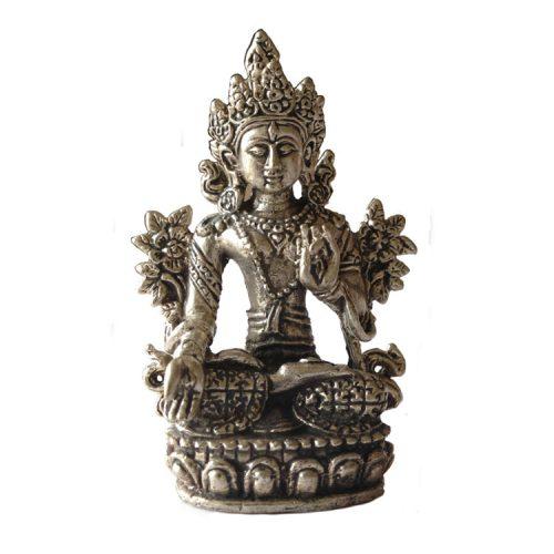 Tara Boeddha Beeld Witte Tara Zilverkleurig - 8.2 cm