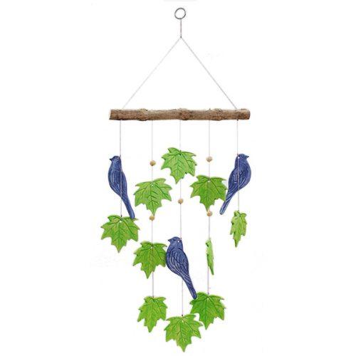 Mobile Keramische Vogels en Bladeren (Groen/Blauw)