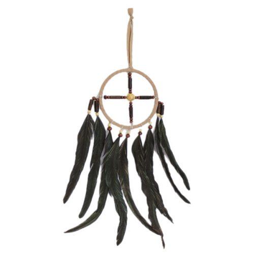 Mobile Hanging Tan Suède en Zwarte Veren