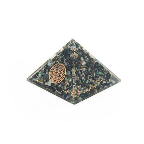 Orgonite Piramide Chrysokolla - Flower of Life - (70 mm)