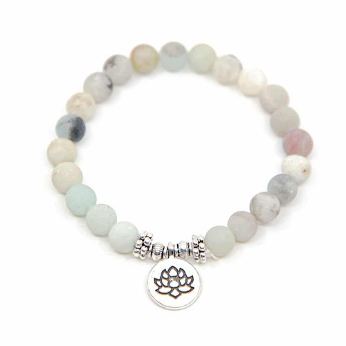 Edelsteen Armband Amazoniet met Lotus Elastisch