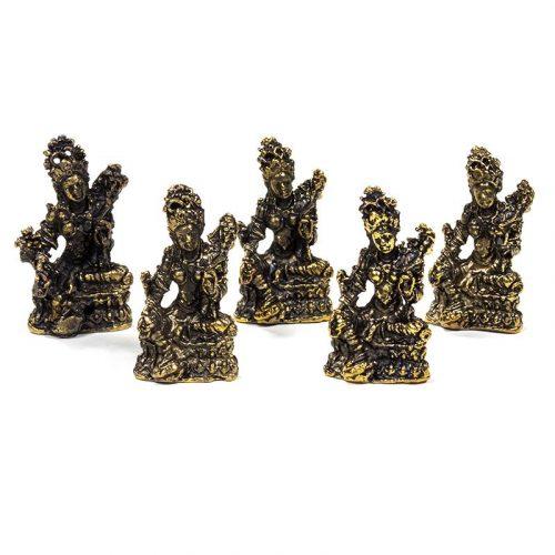 Tara Boeddha Beeld Groene Tara Bronskleurig - 3 cm