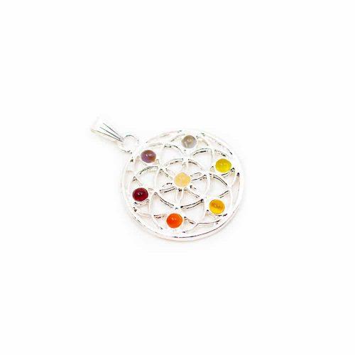 Chakra Flower of Life Hanger Mini Stenen