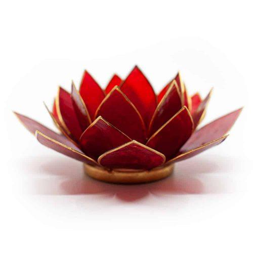 Lotus Sfeerlicht Rood 1e Chakra Goudrand