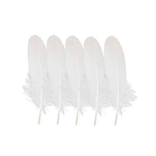 Witte Veren Gans  - 16-20 cm (Set van 5)