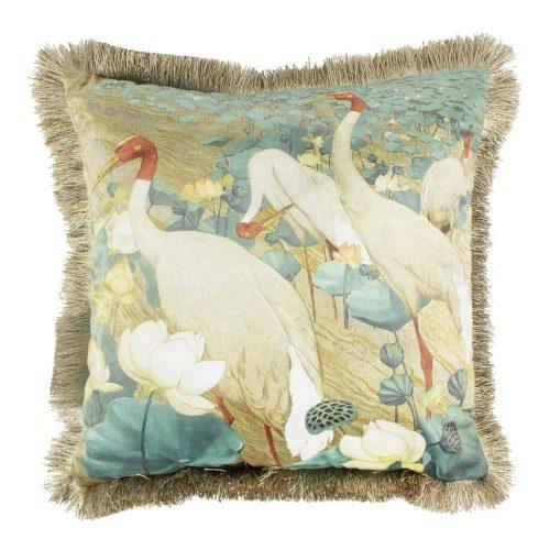 Fluwelen Kussen met Witte Kraanvogels en Gouden Franjes (45 x 45 cm)