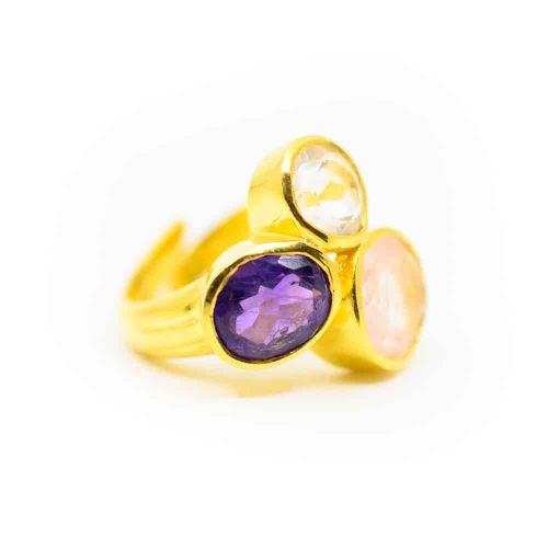"""Gouden Driehoek Edelsteen Ring 925 Zilver & Verguld """"Balance"""""""