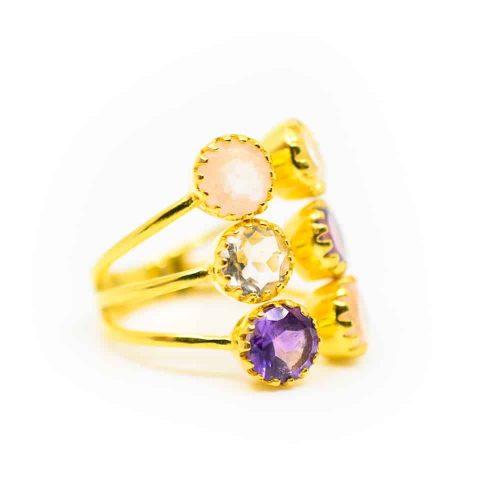 """Gouden Driehoek Edelsteen Ring 925 Zilver & Verguld """"Energize"""""""