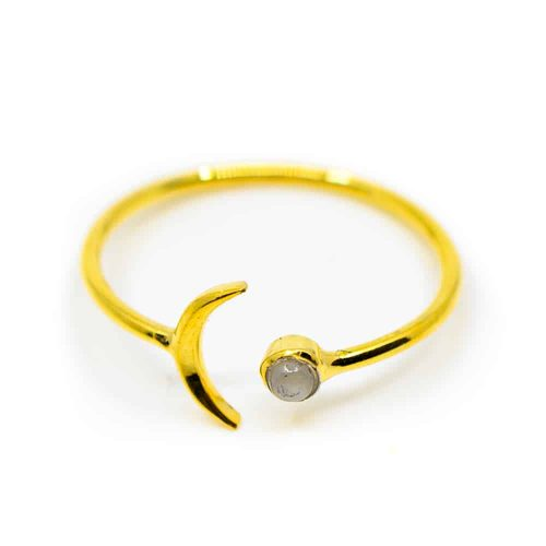 Edelsteen Ring Maansteen - 925 Zilver & Verguld