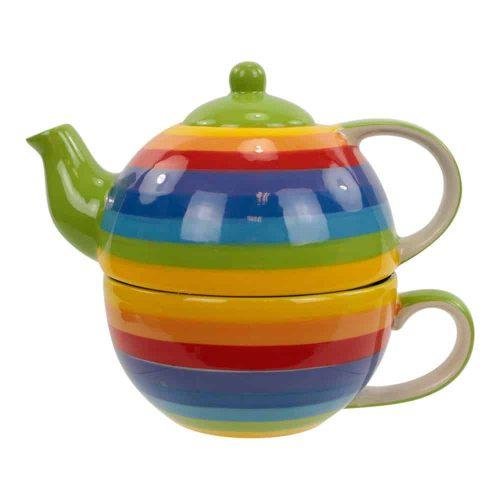Tea for One Set Regenboog Keramiek