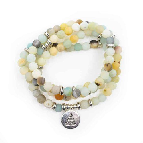 Edelsteen Armband Amazoniet Mala met Boeddha (6 mm Kralen)