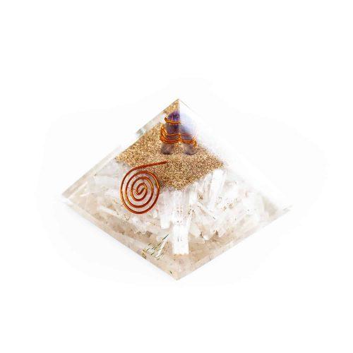 Orgonite Piramide Seleniet/ Amethist (70 mm)