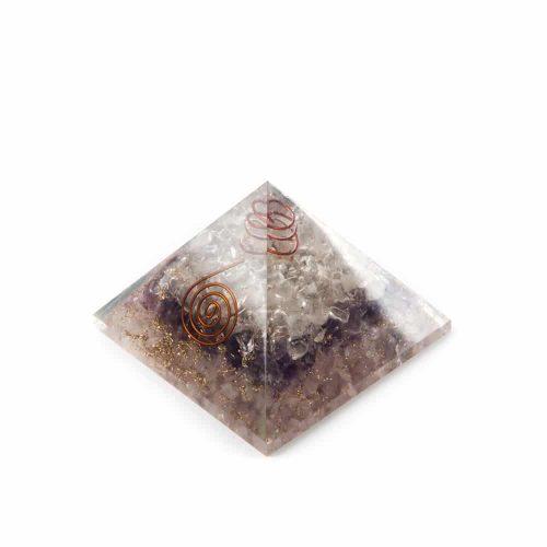 Orgonite Piramide Amethist/ Bergkristal/ Rozenkwarts (70 mm)
