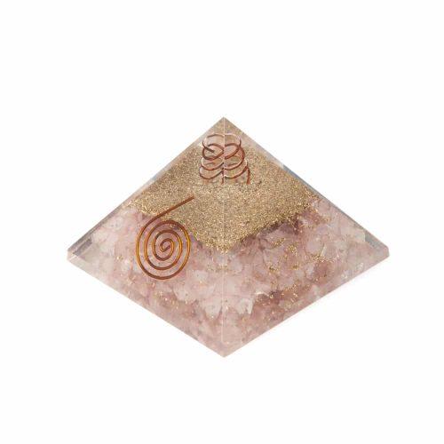 Orgonite Piramide Rozenkwarts - Koperen Spiraal - (70 mm)