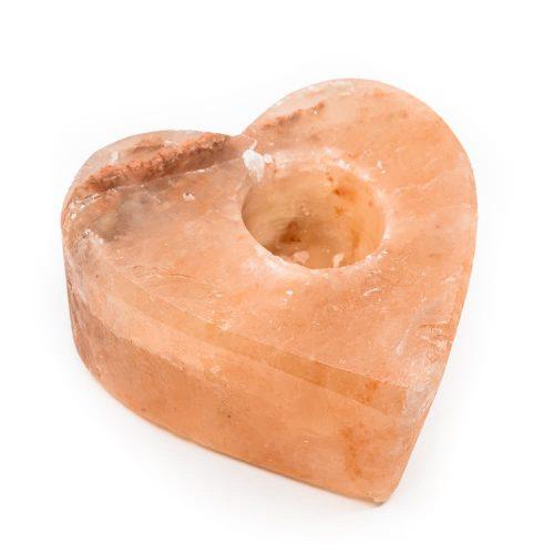 Zoutsteen Waxinelichthouder Oranje Hart (1.3 kg) 12 x 12 cm