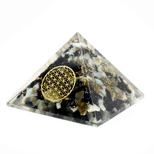 Orgonite Piramide Chrysocolla - Flower of Life - (40 mm)