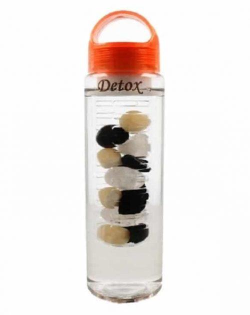 Edelsteen Waterfles Bergkristal, Toermalijn en Calciet - Detox - 700 ml
