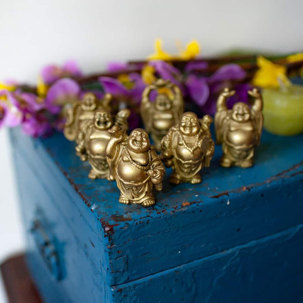gouden boeddha beeldjes of happy buddha's