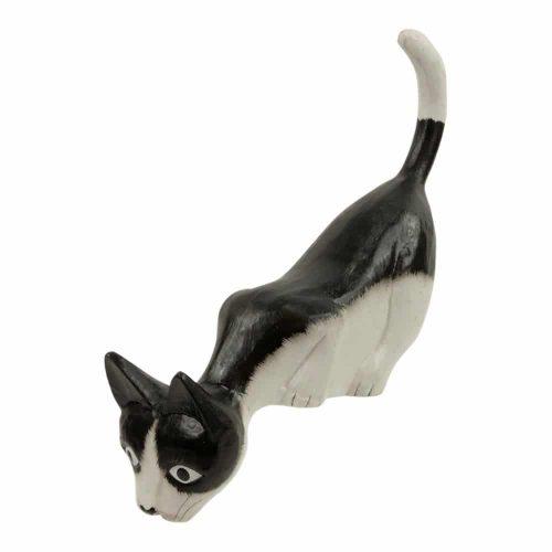 Houten Kat kijkt naar Beneden - Zwart/Wit L