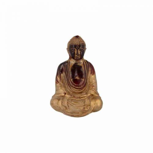 Japanse Boeddha Beeld Kunststof Rood - 15.5 x 12 cm
