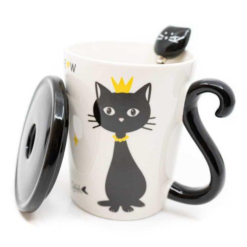 Beker Zwarte Kat met Lepel en Deksel