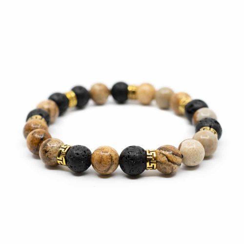 Edelsteen Armband Jaspis/ Lavastenen met Goudkleurige Ringen