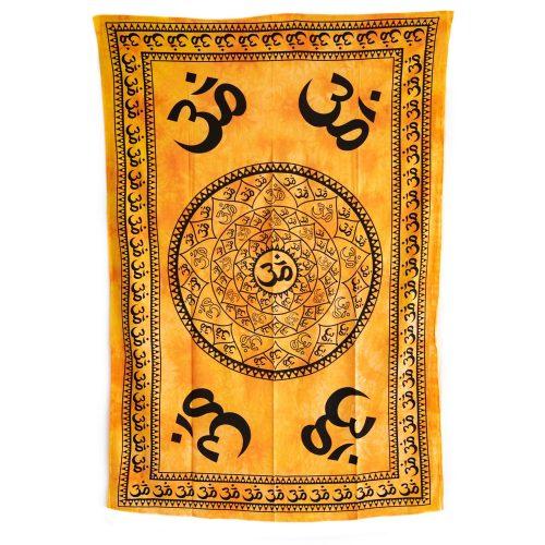Authentiek Wandkleed Katoen OHM Mandala Geel (215 x 135 cm)