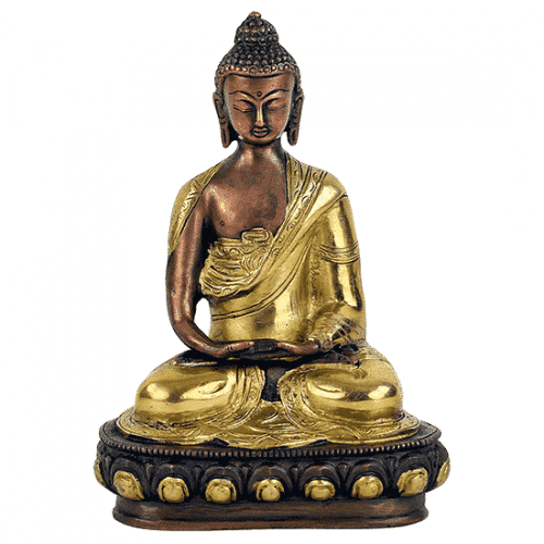 Japanse Boeddha Beeld Messing Amithaba Tweekleurig - 20 cm