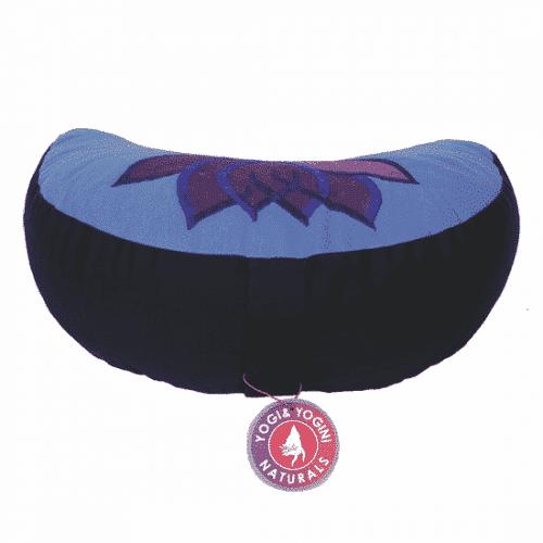 Yogi & Yogini Meditatiekussen Blauw Halve Maan Katoen - Lotus - 33 x 13 cm