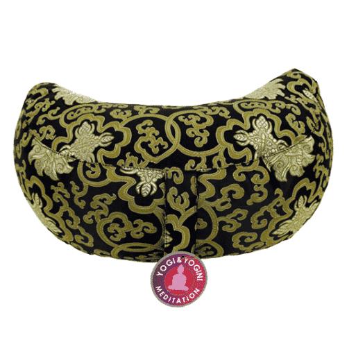 Yogi & Yogini Meditatiekussen Zwart Halve Maan Katoen - Goud Patroon - 33 x 13 cm