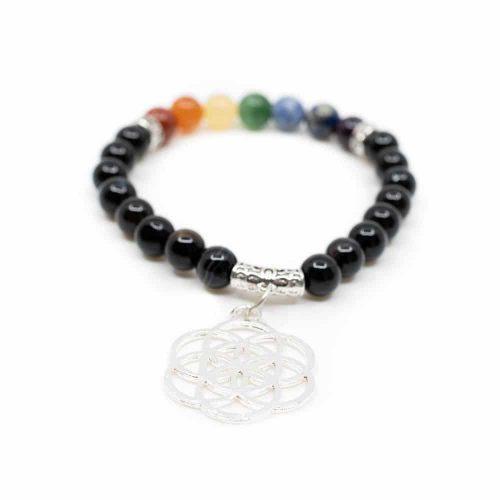 Zwarte Onyx Chakra Armband met Flower of life