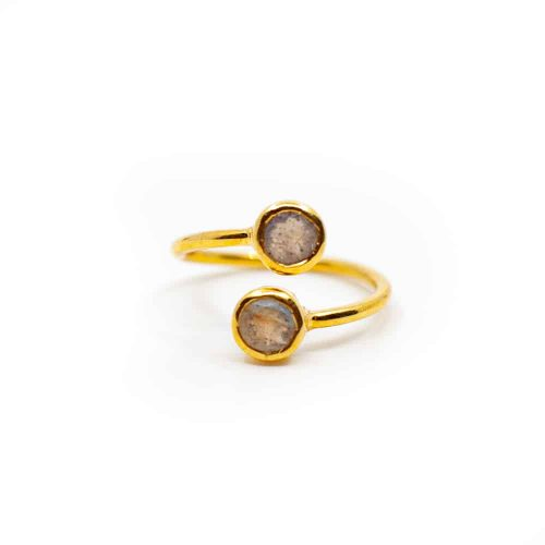 Edelsteen Ring Labradoriet - 925 Zilver & Verguld