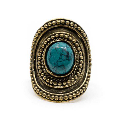 Bohemian Edelsteen Ring Turkoois - Verstelbaar