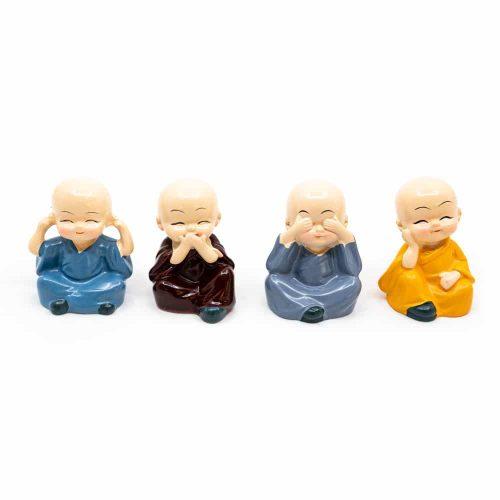 Happy Boeddha Beeld Vrolijke Kleuren - set van 4 - ca. 6 cm
