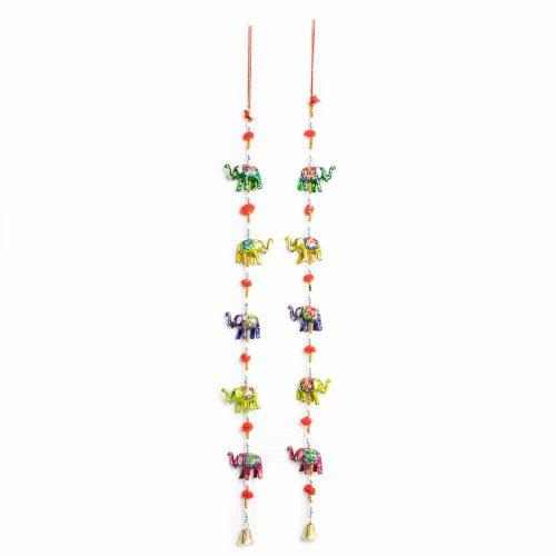 Decoratieve Slinger Polyresin Olifanten met Belletjes (80 cm)