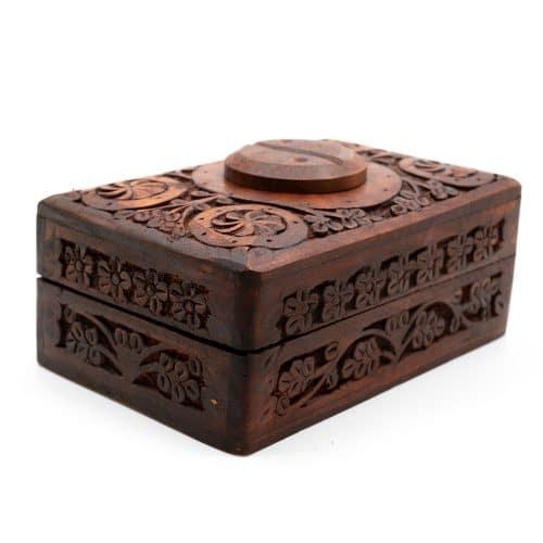Opbergdoos Hout Yin & Yang Handgesneden (15 cm)