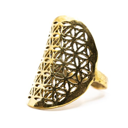 Verstelbare Ring Flower of Life Goudkleurig (30 mm)